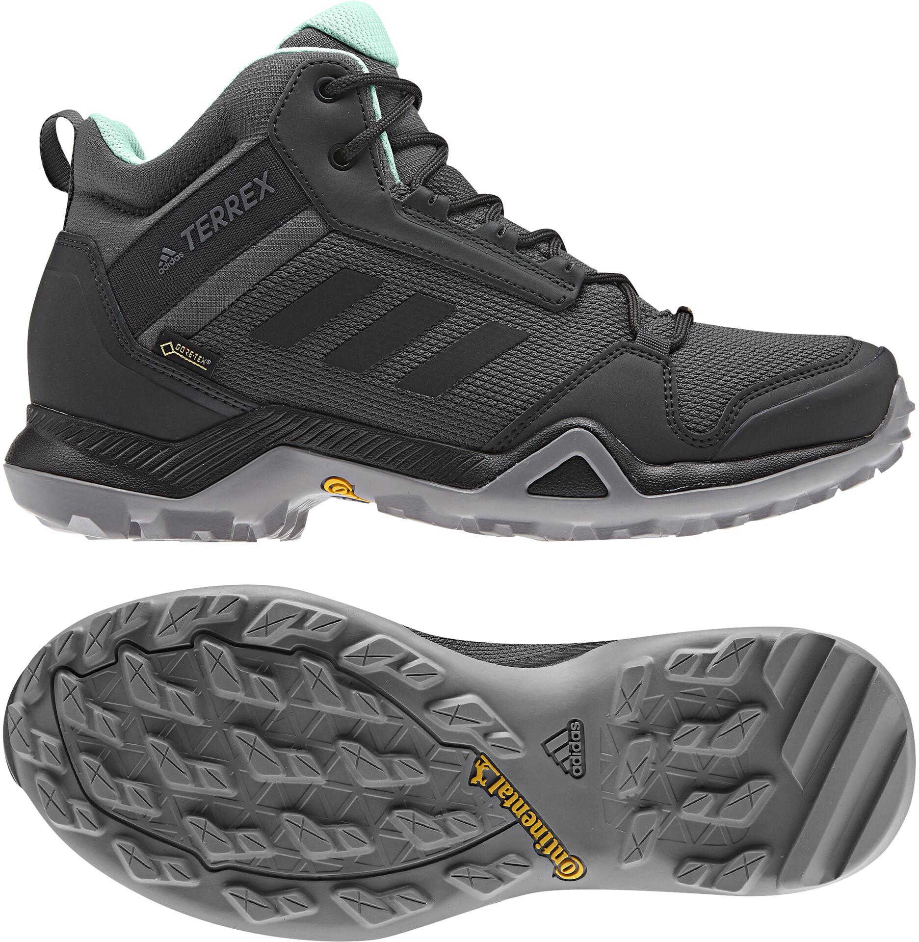 adidas TERREX AX3 Mid Gore Tex Chaussures de randonnée Femme, grey fivecore blackclear mint